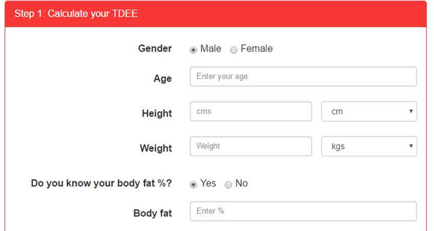 The Image Above Is Pretty Self Explanatory And Asks Standard Questions Enter Your Gender Age Height Weight Use Tabs To Right Of These